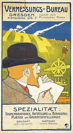 Poster - Vermessungs-Bureau Dresden - 41x74, ca. 1900 by Johann V. Cissarz (1873-1942)