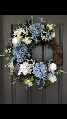Custom Order/Jenny Blue and white hydrangeas and roses double wreaths. Flowers For Sale, Faux Flower Arrangements, Fabric Wreath, Container Flowers, Faux Flowers, Summer Wreath, Flower Decorations, Christmas Wreaths, Floral Wreath