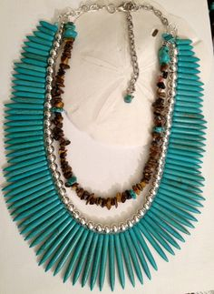 Turquoise Howlite Spike Multi Strand Necklace
