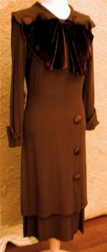 Vintage 1930s Brown Tiered Dress w Velvet Batwing Bow | eBay