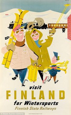 A ruddy family cheerfully arrive off the train in Finland for a skiing holiday in a 1950 p...