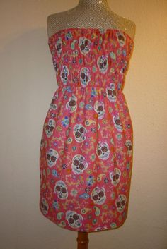 DRESS SUGAR SKULLS SKULL ROSES GOTHIC SIZE MADE TO MEASURE BEACH PARTY SIZE 6 18
