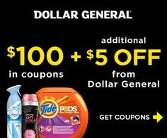 Print Your Coupons to Save $5 at Dollar General PLUS $100 on Procter & Gamble Products #coupons #deals