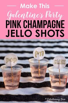 This pink champagne jello shots recipe is to die for! I can't wait to make it for my New Year's Eve party. This pink champagne jello shots recipe is to die for! I can't wait to make it for my New Year's Eve party. New Years Eve Drinks, New Year's Drinks, New Year's Eve Cocktails, Holiday Drinks, Yummy Drinks, Holiday Recipes, Alcoholic Drinks, Beverages, New Years Eve Party Ideas For Adults
