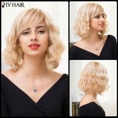 73.41$  Watch now - http://dig1t.justgood.pw/go.php?t=207000201 - Siv Hair Medium Fluffy Oblique Bang Wavy Bob Human Hair Wig