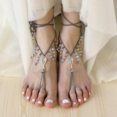 Boho barefoot sandals Beach wedding anklets from Elvish Things by DaWanda.com