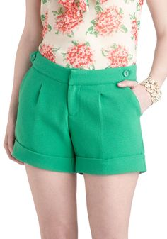 Thaw Struck Shorts - Green, Solid, Pockets, Daytime Party, Beach/Resort, Pinup, Vintage Inspired