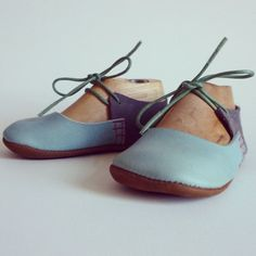 These shoes are inspired by my fabulous musical friend Birdie! They are made from pale blue, grey suede and brown leathers.