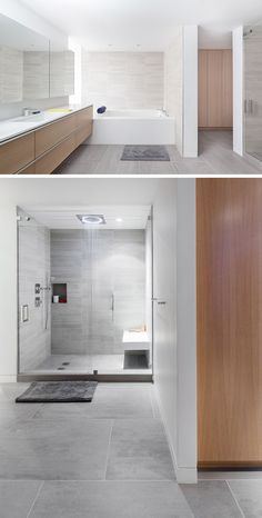 Bathroom Tile Ideas - Use Large Tiles On The Floor And Walls // The light stone of these large floor tiles matches the other smaller stone tiles used in the shower and bathtub to create a unified look.