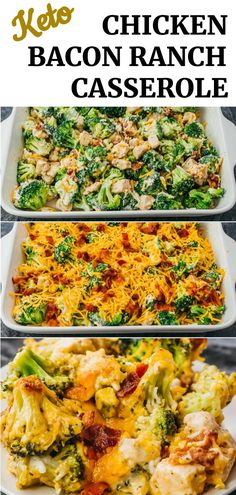 This recipe for Chicken Bacon Ranch Casserole is one of those easy weeknight meals that is healthy, low carb, keto, and Recipe For Chicken Bacon Ranch Casserole, Low Carb Chicken Recipes, Casserole Recipes, Keto Recipes, Cooking Recipes, Healthy Recipes, Chicken Recipes For Diabetics, Easy Healthy Casserole, Low Carb Chicken Dinners