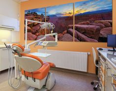 if the predominant color just wasn't orange/modern. Peter Lik in a dental office