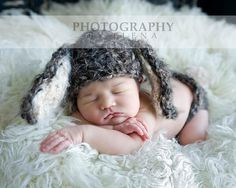 This adorable bunny hat and diaper cover is perfect for photography shoots and spring!  :: C U S T O M . K N I T :: This set is custom knit