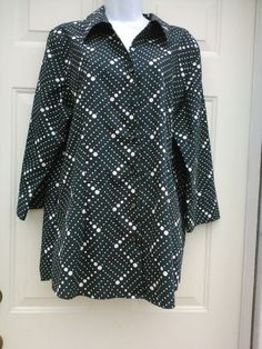 FOXCROFT SZ 16 Wrinkle FREE Fitted Black White Polka Dotted Cotton Button Front