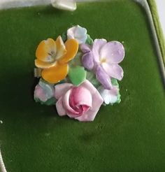 Vintage Coalport Bone China Yellow Violet Pansy Pink Rose Brooch England in | eBay..marinafromnewport