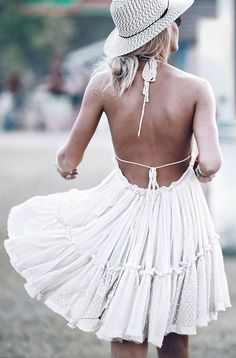 Mary Seng goes boho with this cute summer dress.  Dress: Free People, Hat: Urban Outfitters... | Style Inspiration