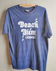 Vintage Hawaii Beach Bum Navy Blue Perfectly Worn 100% Cotton Hanes T Shirt by drowsySwords on Etsy