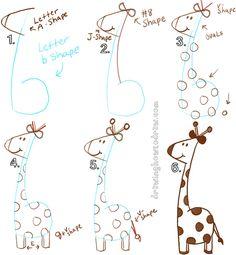 Draw a Cartoon Giraffe with a lowecase letter b shape