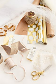 DIY Gift Wrapping Tutorial, Gold Gift Wrap, Gold Office Supplies