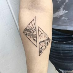 Beach and Mountain tattoos