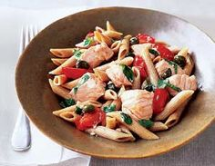Flat Belly Diet Recipes: Salmon and Herb Penne - Grape tomatoes add a burst of sweetness to this pasta favorite! Prevention.com