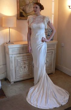 Stunning 1930's style vintage lace and silk satin by Decobridal, $1300.00