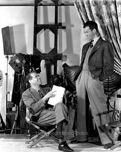 "Director Frank Capra with James Stewart in posed on-set photo for ""It's A Wonderful Life"", 1946"