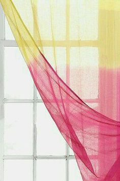 Noodle Dip-Dye Curtain urban outfitters- could probably do dip-dye or tie-dye curtains myself Shades Of Yellow, Pink Yellow, Pink And Green, Pink White, Hot Pink, Dip Dye Curtains, Yellow Cottage, Bedroom Green, Master Bedroom