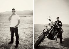 photography at a dry lake bed las vegas- motorcycle