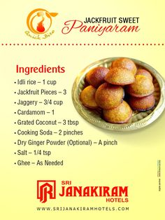 Jackfruit Paniyaram - Sweet paniyaram recipe with twist of jackfruit taste. Easy to cook & Now try at your home! Indian Desserts, Indian Sweets, Indian Dishes, Recipes In Tamil, Indian Food Recipes, Snack Recipes, Cooking Recipes, Snacks, Kitchens