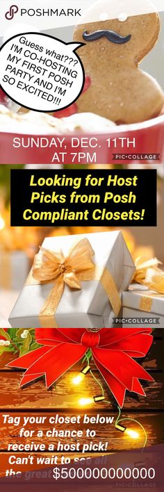 12/11/16! I'm co-hosting my 1st Posh Party! 💃🏾🎉 I'm co-hosting my first posh party!!!! And I'm so excited! Join me and my co-hosts on Sunday December 11th as we enjoy this party! I'll be looking for all kinds of host picks but will only be picking from posh compliant closets only! Can't wait to see you all on Sunday! 😊 Other