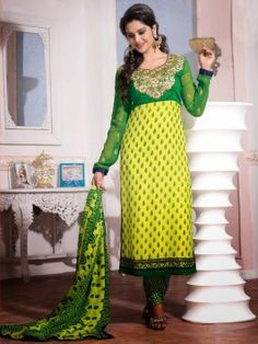 Green And Yellow Georgette Suit With Zari Embroidery Work www.saree.com