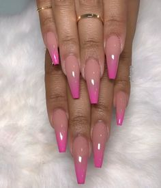 Nude & pink Ombré follow @hair,nails & style for more