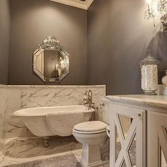Master Bathroom with Marble Wainscoting - Transitional - Bathroom Gray And White Bathroom, Grey Bathrooms, Beautiful Bathrooms, Master Bathrooms, Bathroom Storage, Bathroom Interior, Transitional Bathroom, Bathroom Inspiration, Bathroom Ideas