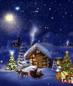Merry Christmas Animation, Merry Christmas Song, Christmas Scenery, Merry Christmas Images, Vintage Christmas Images, Merry Christmas And Happy New Year, Christmas Pictures, Christmas Art, Beautiful Christmas