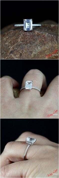 Hawaiian Wedding Ring - Emerald-cut engagement rings are not only supremely sophisticated, they're incredibly stylish, too. Celebrities like Beyonce, Kate Hudson, and Kristen Bell all rock emerald-cut engagement rings. An emerald-cut d. Popular Engagement Rings, Beautiful Engagement Rings, Engagement Ring Cuts, Solitaire Engagement, Beautiful Rings, Solitaire Setting, Solitaire Rings, Engagement Ideas, Diamond Rings