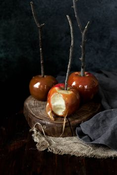 Homemade caramel apples spiked with bourbon and flavored with brown butter... uhm, YES PLEASE?! from @bromabakery