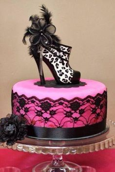 Pink cake with black lace & leopard print shoe for topper