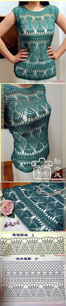 Openwork top. Very unusual uzorchik hook. - Knitted fashion + NEMODELNYH FOR LADIES - Country Mom