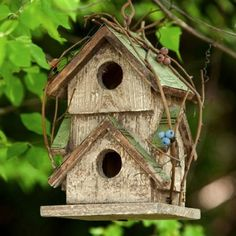 Outdoor Decor  Twig Motif Wooden Birdhouse found on Amazon.com Love the idea of adding twigs!