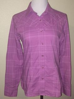 Rockies Misses M Western Blouse Fitted Country Purple Plaid Ladies Cowgirl #Rockies #Blouse #Casual