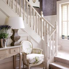 Country hallway with painted stairs | Pinterest | Decorating, Stair ...