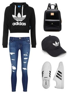 """""""Edgy adidas"""" by sagesallykneetree ❤ liked on Polyvore featuring Topshop, J Brand and adidas"""