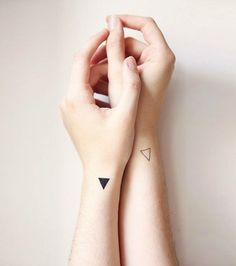 Best Small And Minimalist Tattoo Designs For Women Because Happiness Comes In Small Packets - Tattoos Tattoos Geometric, Geometric Tattoo Design, Triangle Tattoos, Geometric Shapes, Triangle Tattoo Meaning, Small Geometric Tattoo, Abstract Tattoos, Colorful Tattoos, Small Wrist Tattoos