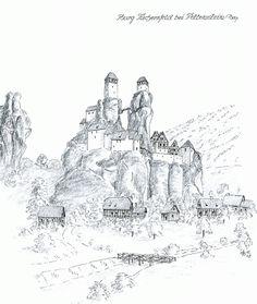Castle Tüchersfeld near Pottenstein/Bavaria www. Medieval World, Medieval Castle, Medieval Fantasy, Castle Sketch, Castle Drawing, Historical Architecture, Historical Maps, Fantasy Map Making, Castle Illustration