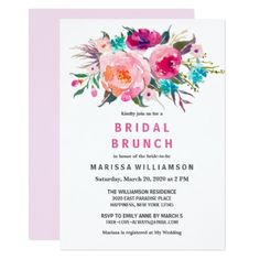Modern Floral Watercolor Chic Bridal Brunch Card - wedding invitations diy cyo special idea personalize card