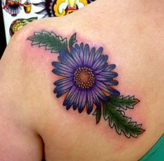 blue aster flower tattoo - Google Search