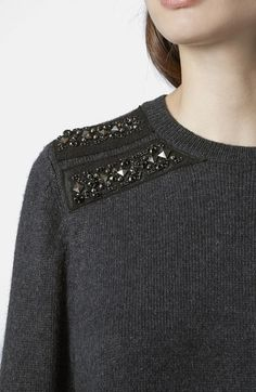 Free shipping and returns on Topshop Embellished Shoulder Sweater at Nordstrom.com. Twin rows of beaded embellishments at the shoulders add a dash of glam to a slouchy, casual sweater knit from soft yarns.