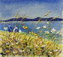 Machair Iona 2 Free Motion Embroidery, Crewel Embroidery, Butterfly Embroidery, Embroidery Patterns, Landscape Art Quilts, Collage Landscape, Fiber Art Quilts, Fabric Postcards, Machine Embroidery Projects