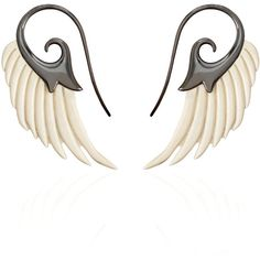 Noor Fares Fly Me To The Moon Mammoth Wing Earrings ($930) ❤ liked on Polyvore featuring jewelry, earrings, wing jewelry, wing earrings, sterling silver jewellery, carved jewelry and sterling silver jewelry