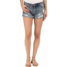 Blank NYC Denim Cuffed Distressed Shorts (Denim Blue) Women's Shorts ($40) ❤ liked on Polyvore featuring shorts, blue, short jean shorts, cuffed jean shorts, frayed denim shorts, frayed jean shorts and blue jean shorts